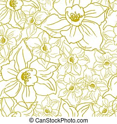 Ffloral seamless pattern with contours of flowers Daffodils