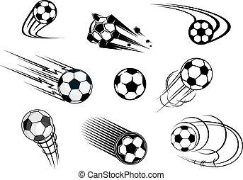 fflying, fotboll, sätta, klumpa ihop sig