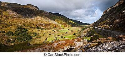 ffrancon, nemzeti, snowdonia, liget, ogwen, völgy, nant, ...