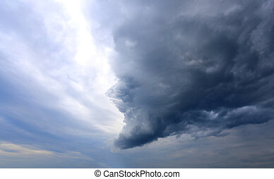 Fhoto sky with clouds - Huge beautiful blue cloud in cloudy...