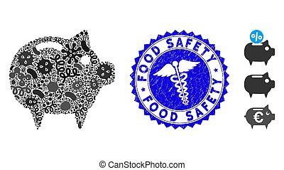fièvre, gratté, banque, mosaïque, porcin, timbre, nourriture, medic, sécurité, icône