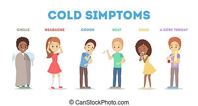fièvre, infographic., grippe, symptômes, froid, toux