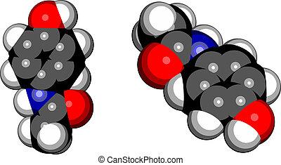 fièvre, molecule., réduire, drogue, (acetaminophen), utilisé...