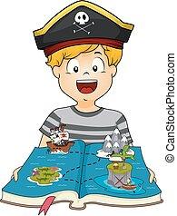 fiú, ábra, könyv, kölyök, kalóz, földrajz