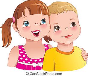 fiú, átkarolás, csinos, -, gyerekek, lány mosolyog