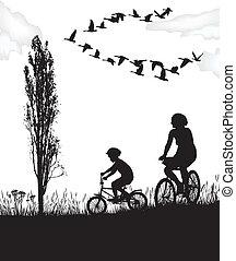 fiú, és, anya, képben látható, bringák