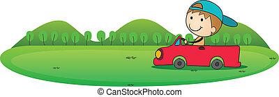fiú, és, autó