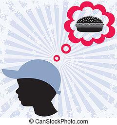 fiú, és, hamburger