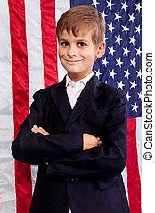 fiú, amerikai, háttér., lobogó, portait, kaukázusi