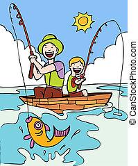 fiú, atya, elgáncsol, halászat