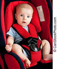 fiú, autó leültet