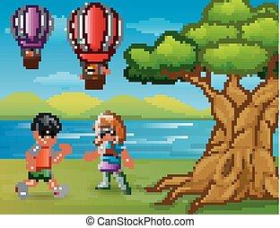fiú, balloon, forró levegő, futás, úszó, karikatúra