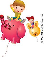 fiú, balloon, leány, ülés