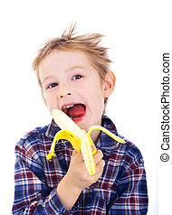 fiú, banán