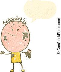 fiú, beszéd, retro, buborék, karikatúra, koszos