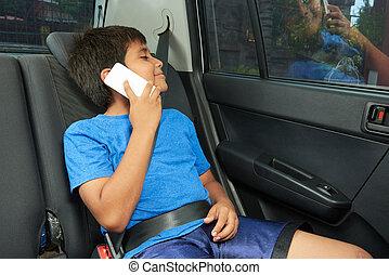 fiú, beszél, telefon, autó