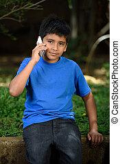 fiú, beszél, telefon