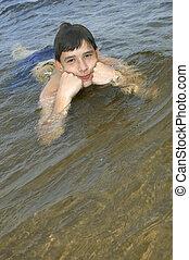 fiú, beszerez, élvezet, úszás