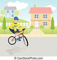 fiú, bicikli, játék, neigborhood