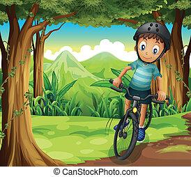 fiú, bringázás, erdő, középső