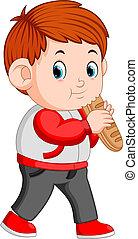 fiú, cipó, bread, nagy