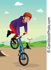 fiú, cselekedet, egy, bicikli stunt