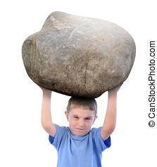 fiú, erő, birtok, kő