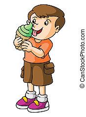 fiú, eszik, fagylalt