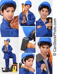 fiú, fizikai munkás, eszközök, öltözött