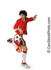 fiú, futball, labdarúgó, labda