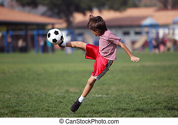 fiú, futball, liget, játék
