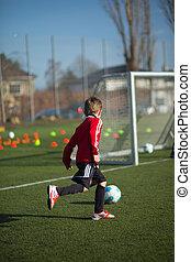 fiú, gyakorló, futball