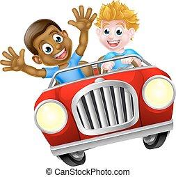 fiú, gyerekek, karikatúra, vezetés, autó