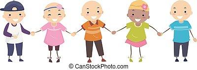 fiú, gyerekek, stickman, alopecia, ábra, leány