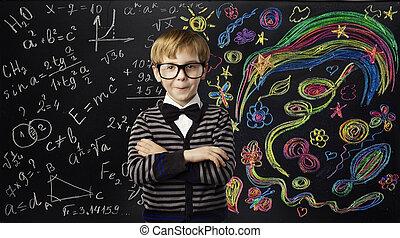 fiú, izbogis, művészet, fogalom, kreativitás, gondolat, tanulás, gyermek, matematika, oktatás, képlet, kölyök