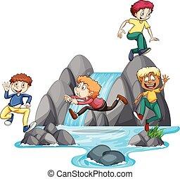 fiú, játék, -ban, vízesés