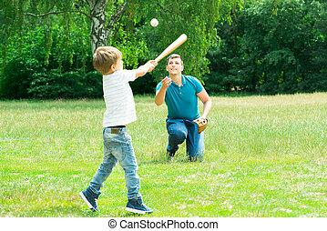 fiú, játék baseball, noha, övé, atya