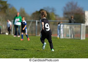 fiú, játék futball