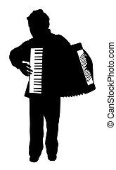 fiú, játék, harmonika