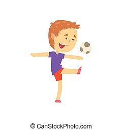 fiú, játék, játék futball, gyerekek, fizikai activity, karikatúra, vektor, ábra