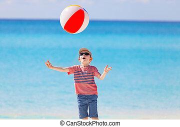 fiú, játék, noha, a, labda