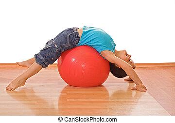 fiú, játék, noha, egy, gymnastic labda