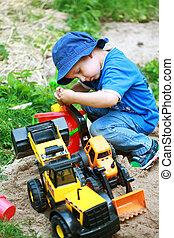 fiú, játék, noha, földmunkás
