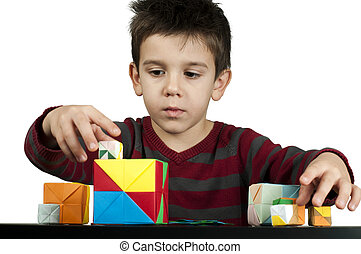 fiú, játék, noha, többszínű, kikövez