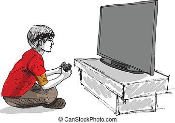 fiú, játék, számítógép, játék
