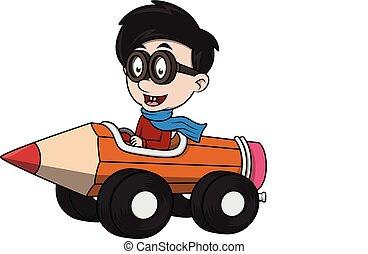 fiú, játékszer, karikatúra, vezetés, autó