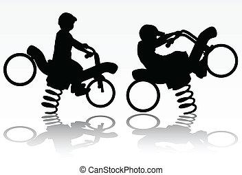 fiú, képben látható, a, motorkerékpár