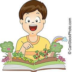 fiú, könyv, kert, ábra, kölyök