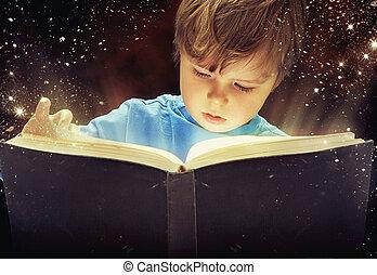 fiú, könyv, varázslatos, fiatal, ámuló