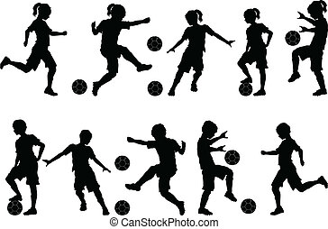 fiú, körvonal, futball, lány, gyerekek